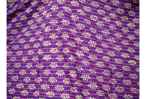Purple Summer Dresses Block Printed Indian Cotton Fabric by the yard Costume Quilting Sewing Crafting Apparel Nursery Drapery Table Runner