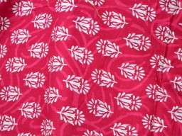 Pure Soft Cotton Fabric in Ruby Red and Beige