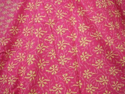 Indian block print Fabric in Magenta and Lime yellow