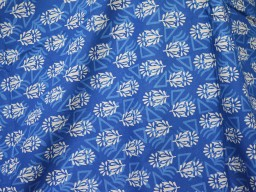 Pure Soft Cotton Fabric in Blue and white
