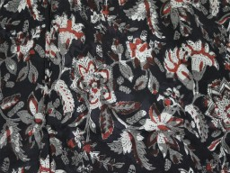 Black Floral Soft Cotton Fabric by the yard maroon Hand Block Printed Summer Dresses flower print fabric for Kids wear Sewing Curtain Fabric