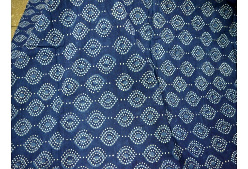 Indigo Indian Hand Block Printed Quilting Cotton Fabric by Yard Sewing Crafting Drapes Curtains Summer Women Apparel Table Placements Mats