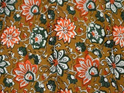 Hand Printed Pure Soft Cotton Fabric in Neon Orange