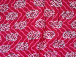 Pure Soft Cotton Fabric in Ruby Red and White