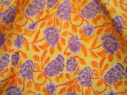 Block print Pure Soft Cotton Fabric in Yellow Hand Printed Fabric Summer dress fabric