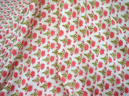 Hand Printed Fabric Soft Cotton Fabric in Carrot Red