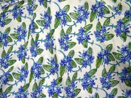 Blue on White background in floral print fabric