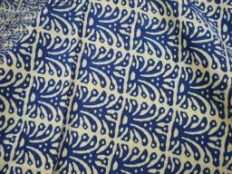 Pure cotton fabric in block print in Indigo Blue