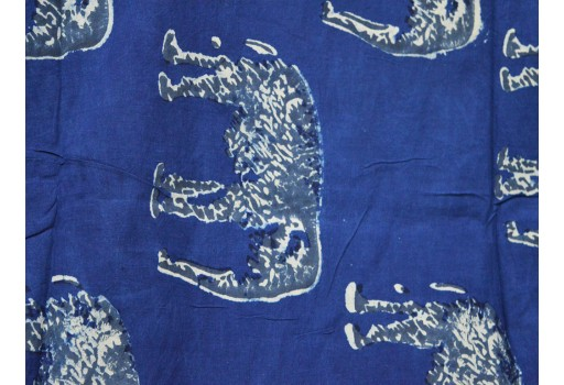 Cotton Fabric Elephant Print Organic Indigo cotton