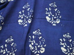 Indigo Blue Cotton Fabric Lord Ganesh Print Organic Indigo Quilting Cotton
