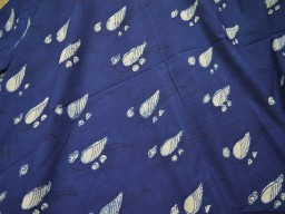Indigo and White hand block print fabric in Parrot Print