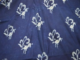 Blue Cotton Fabric Peacock Print Organic Indigo