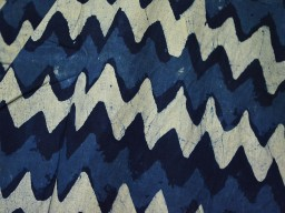 Pure cotton fabric in block print Zig Zag pattern in Indigo Blue