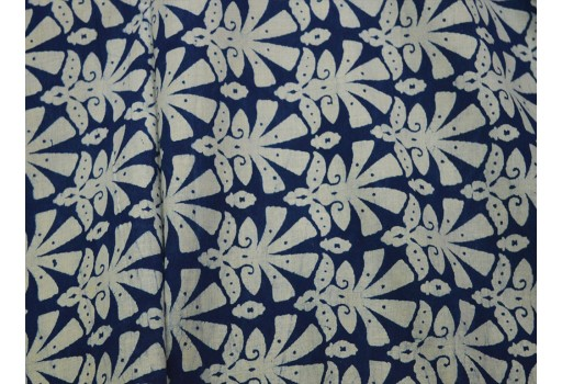 Block Print Quilting Fabric Indigo Blue Cotton