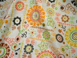 Geometric Orange Screen Printed Indian Pure Soft Cotton Fabric by the Yard Summer Dresses Tunics Quilting Sewing Crafting Baby Nursery Cribs