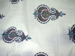 Pure Cotton Fabric in purple blue brown on white background