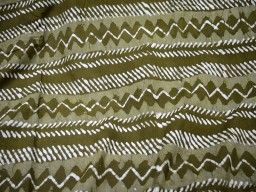 Hand Printed Fabric in Olive Green White Quilting Fabric dress fabric