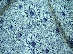 Screen Printed Pure Cotton Fabric in Navy Blue on off white background