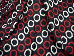 Quilting cotton Lovely Print in red white printed over black background