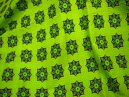 Parrot Green Printed Cotton Fabric for Dress