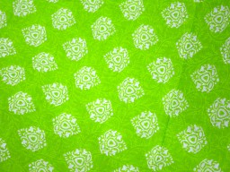 Screen Printed Pure Cotton Fabric in Neon Green and White color