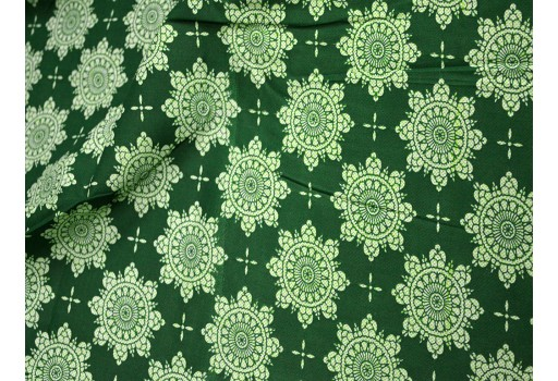 Bottle Green Printed Cotton Fabric for Dress