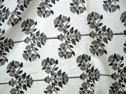 Vegetable Dye Pure Cotton Fabric in Black and Grey on white background