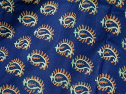 Vegetable Dye cotton Fabric in paisley design in Blue