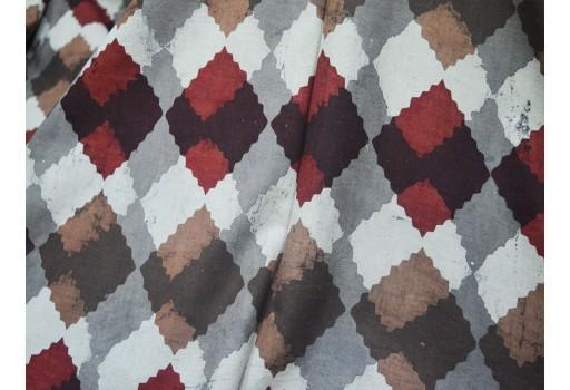 Block block print strips in Brownish-grey Maroon