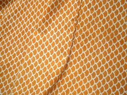 Pure Cotton Fabric in Mustard Yellow and White Color Block Printed