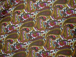 Screen Printed Pure Cotton Fabric in Multicolor with Paisley Print