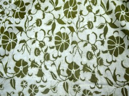 Cotton Fabric in seaweed green on white background