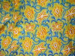 Bohemian fabric Hand Printed Fabric in Yellow cotton