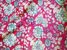 Screen Printed Pure Cotton Fabric in Magenta with floral Print