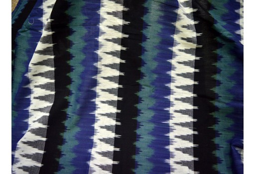 Blue Black Grey Ivory and Basil Green Color Homespun Ikat Fabric cotton fabric by the yard Quilting Indian Fabric Summer Dress Ikat for cushion cover Handwoven Ikat Handloom Ikat