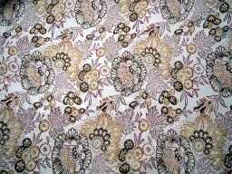 Soft Cotton Fabric in Olive Green Beige Maroon floral print