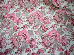 Soft Summer dress Cotton Fabric in Pink and Grey Color