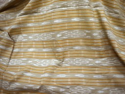 Handwoven Beige Ikat Cotton Indian fabric Hand-loom Homespun Cotton Fabric