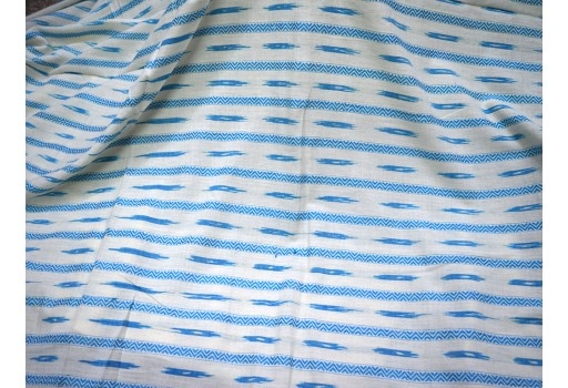 Handwoven Indian Hand-loom Ikat Cotton Fabric in Sky Blue and White Color
