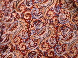 Vegetable Dye Pure Cotton Fabric in Rust Brown Green on white