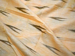 Indian Fabric Ikat Weaving Cotton Fabric in Pale Orange and Ivory