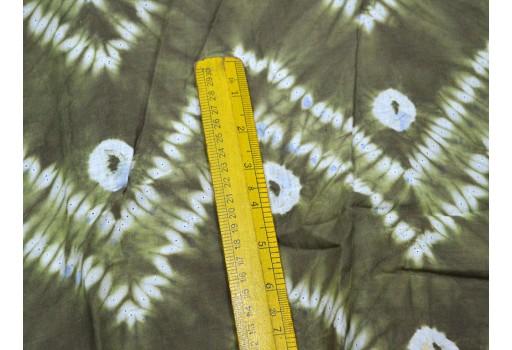 Indigo Shibori Fabric Green White Hand Dyed Indigo cotton