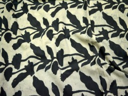 Vegetable Dye Pure Cotton Fabric in black on Ivory background Block Printed Cotton