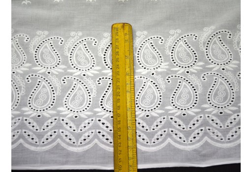 Indian cotton fabric Crafting Dye-able Embroidered Eyelet Cotton Fabric