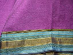 South Indian Homespun cotton fabric in Twin shades of Purple and Black