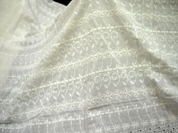 Floral eyelet Dye-able Embroidered Eyelet Cotton Fabric