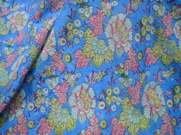 Blue Indian Hand Block Print Sewing Soft Cotton Fabric by the yard Quilting Dressmaking Nursery Crafting Curtains Summer Women Kids Apparels