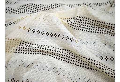 Indian Ivory Unbleach Embroidered Eyelet By The Yard Fabrics Sewing Floral Summer Dresses Cotton For Making Palazzo Pants Kurta Skirts Drapery Curtain Fabric