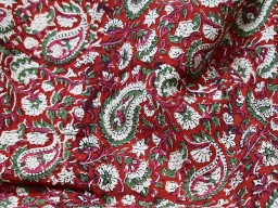 Indian red floral hand printed cotton by the yard fabric sewing crafting quilting hand block printed summer dresses handloom table runner cushion covers home furnishing curtain fabric drapery