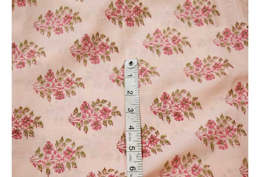 Indian floral hand block printed soft cotton by the yard fabric sewing crafting quilting summer dresses handloom table runner cushion covers home furnishing curtain fabric drapery